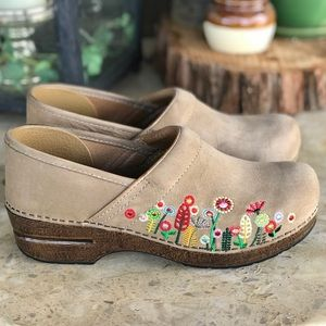 Danskos Nude Suede Floral Embroidered Clogs